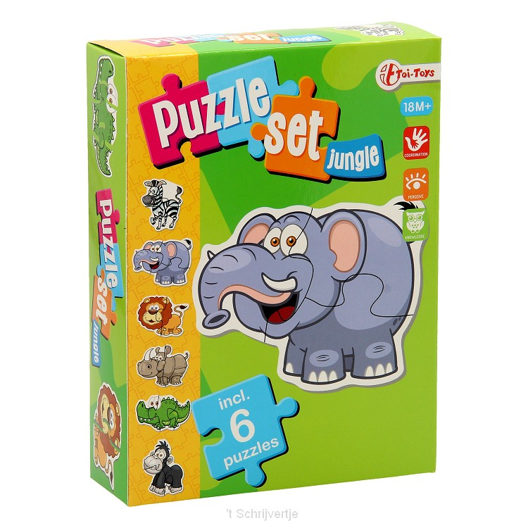 Puzzelset Jungle met 6 Puzzels